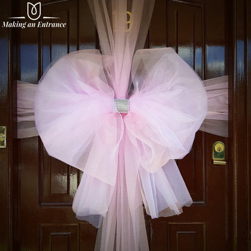 Makinganentranceuk Pink Orange Making An Entrance Uk Organza Door Ribbon Bow Red Baby Christmas