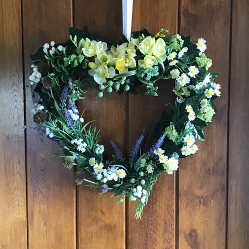 Cottage Garden Large Heart Wreath