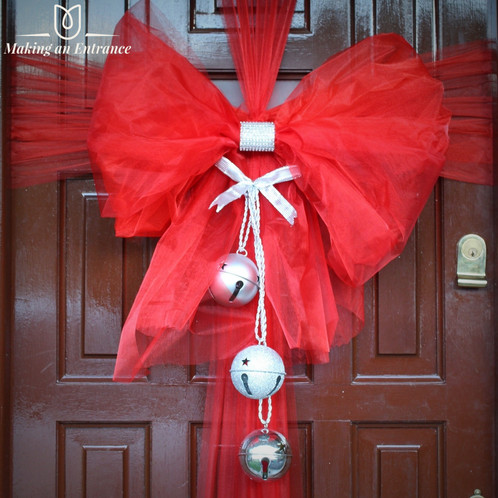 Makinganentranceuk Making An Entrance Red Uk Organza Front Door Ribbon Bow Pink Baby Christmas
