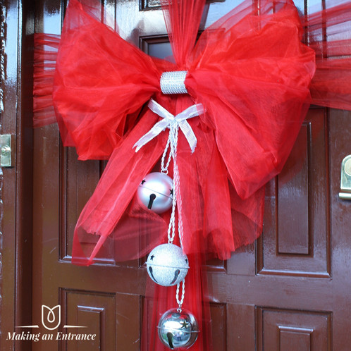 Makinganentranceuk Making An Entrance Jingle Bells Xmas Uk Organza Door Ribbon Bow Pink Red Baby Christmas