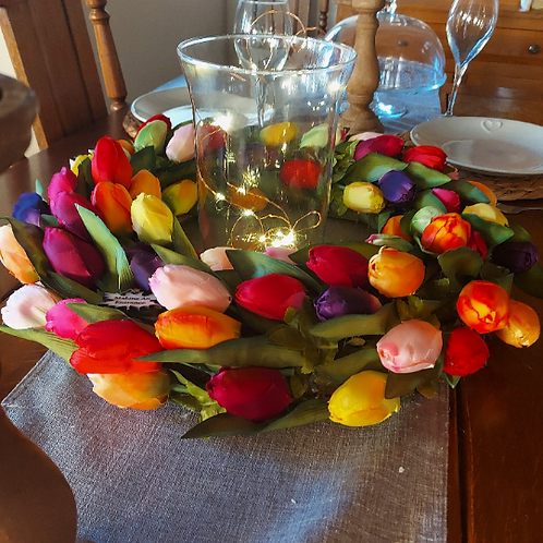 spring and easter tulip centrepiece made in our welsh studio ideal present or gift - front door wreath
