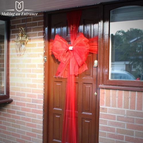 Makinganentranceuk Making An Entrance Uk Internal Organza Door Ribbon Bow Pink Red Baby Christmas