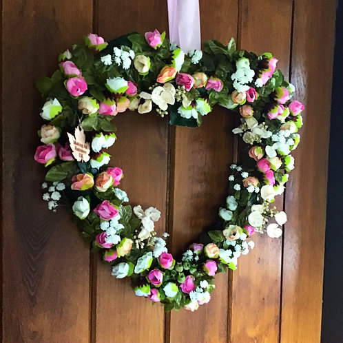 Rose Garden (Light Pink & White) Heart-Shaped Large Wreath