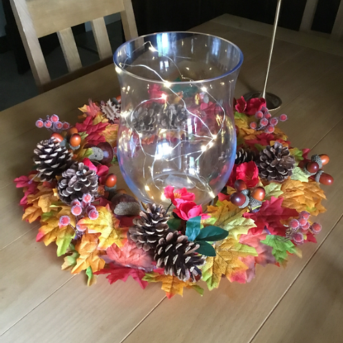 woodland walk table centre centrepiece made in our welsh studio, ideal gift for her or him, faux blooms, flowers
