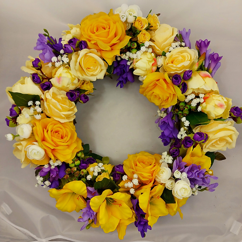 large hand made luxury front door wreath for a gift, brighten up your home with this hanger - faux roses & fuchia
