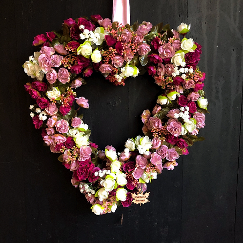 'Summer Loving' Large Heart Wreath hand made in our welsh  studio with love for valentines day for mothers as a present or gi