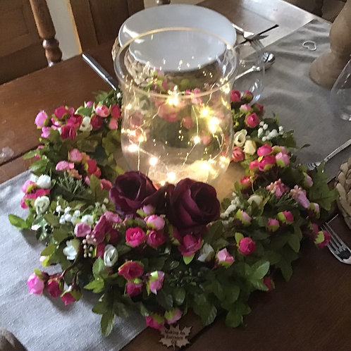 luxury Dark Pink rose bud table centre to make a stunning addition to your dining experience