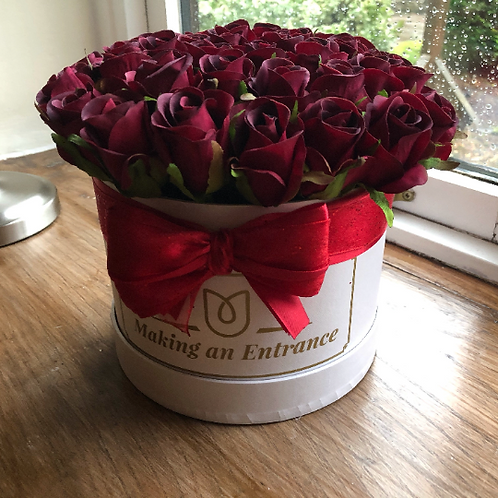large handmade hand made bloom hat box for valentines day gift