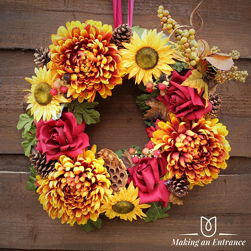 makinganentranceuk autumn door wreath sun flower manchester long life faux forever everlasting flowers rose bloom blooms