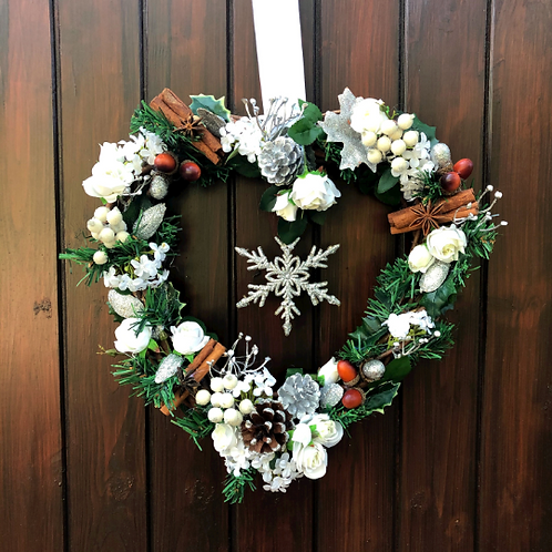 'All I Want For Christmas Is You' Midi Wreath (White and silver)