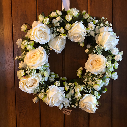 white rose front door wreath with message - gift or present for home or mother mum