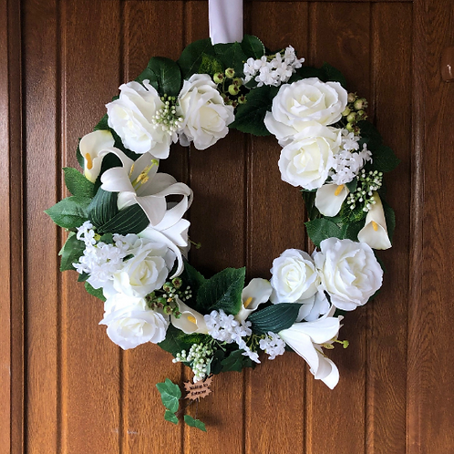 hand made lily lilies wreath for front door or window - present for mum & dad