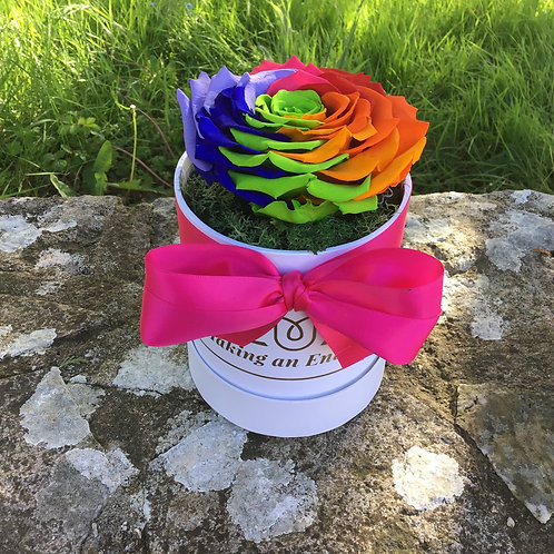 this is a large rainbow infinity preserved forever rose hand made for one year