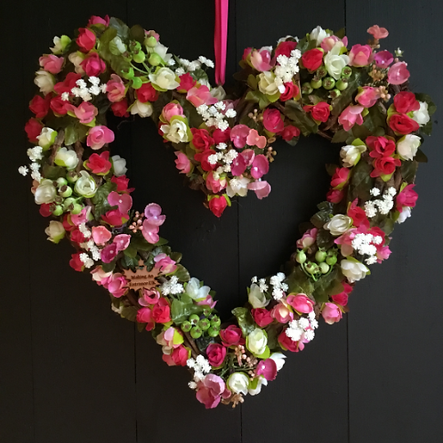 enjoy this large heart shaped summer romance front door decor wreath made by making an entrance