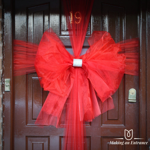 Makinganentranceuk Making An Entrance Uk Front Organza Door Ribbon Bow Pink Red Baby Christmas