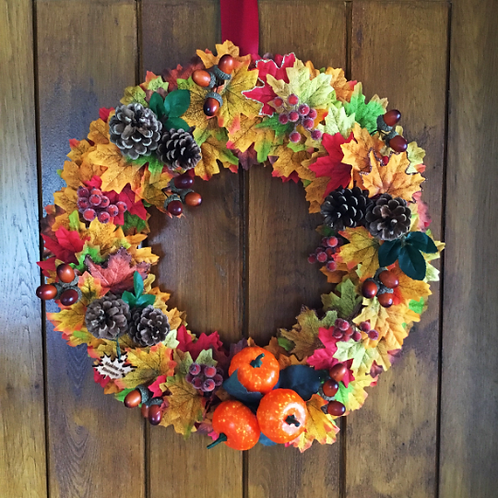 pumpkin patch front door wreath is a great handmade hand made gift for autumn