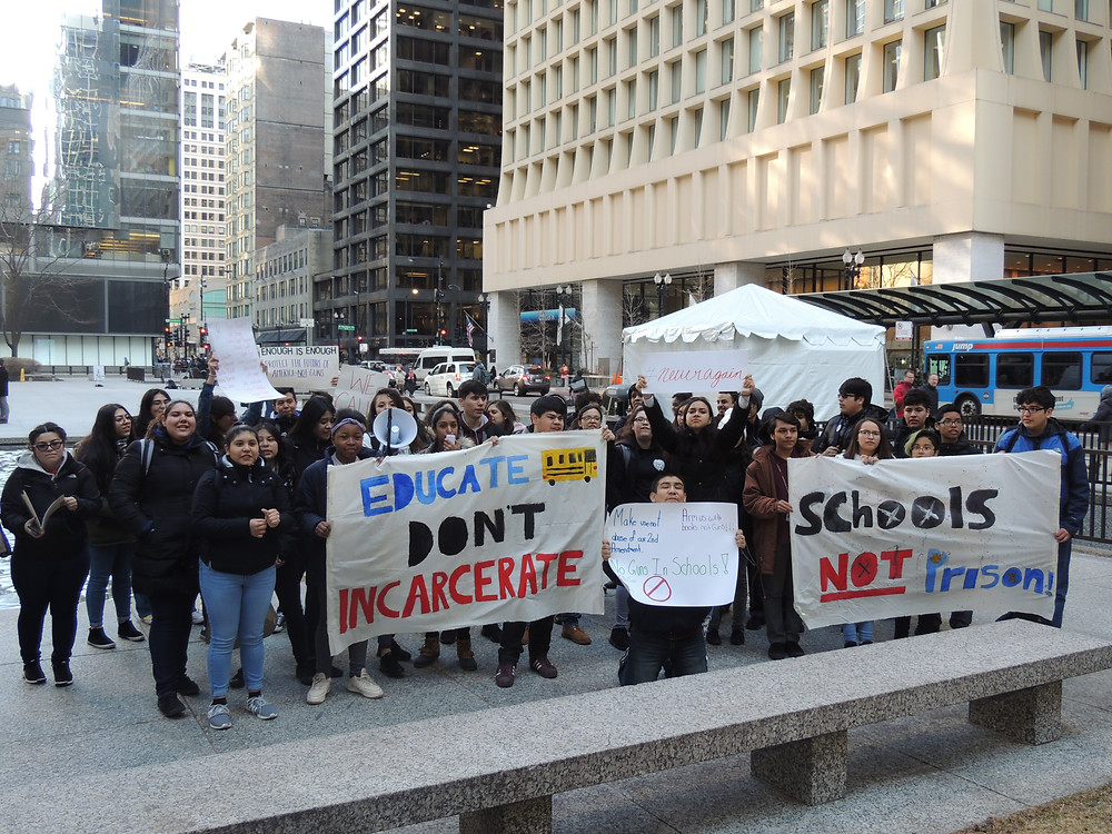 Southwest side CPS youth and BPNC youth leaders hold press conference at Daley Plaza