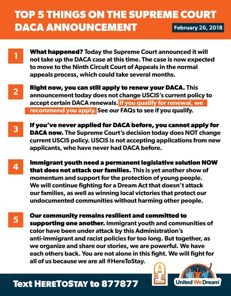United We Dream DACA update SCOTUS