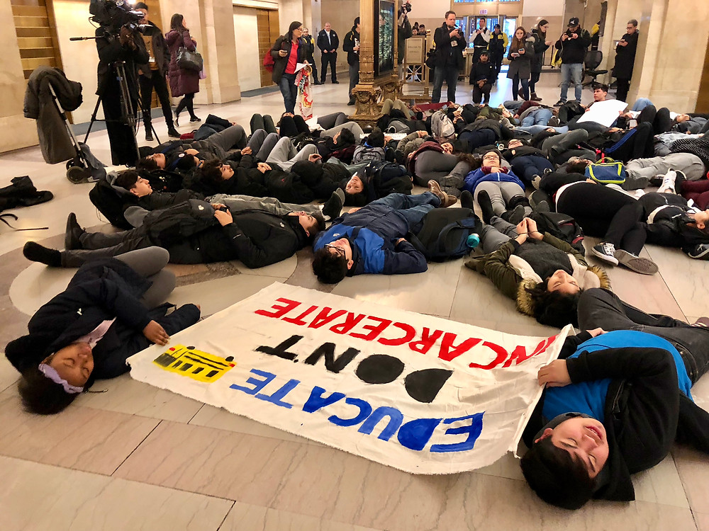 Southwest side CPS youth and BPNC youth leaders hold die-in at Chicago's City Hall