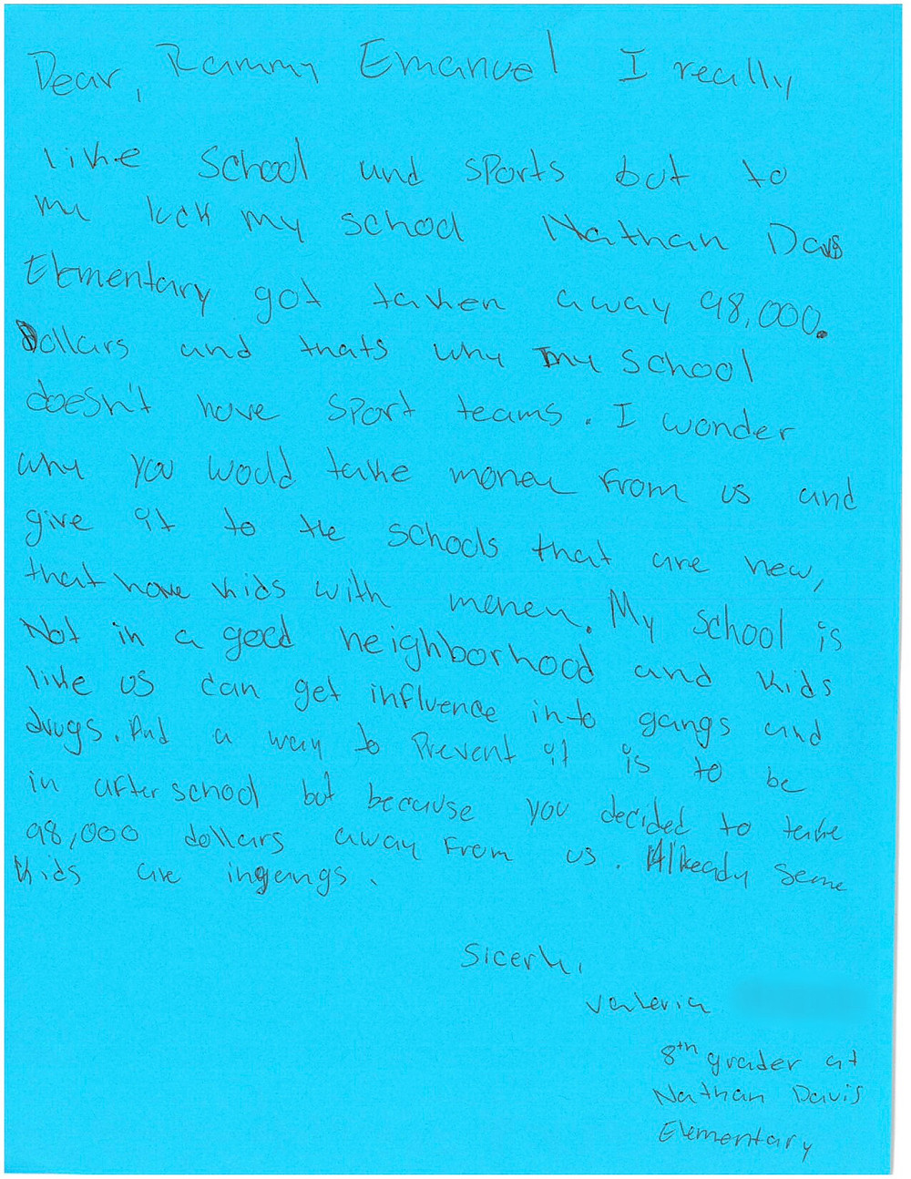 CPS Davis Elementary student letter to Mayor Emanuel