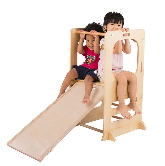 Climbing Play Tower with Slide and Chalkboard