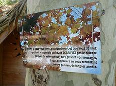 Panneau de rappel de protection de la nature