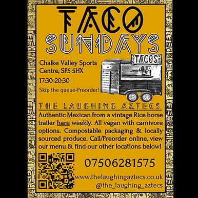 Taco Sundays! Mexican pop up poster
