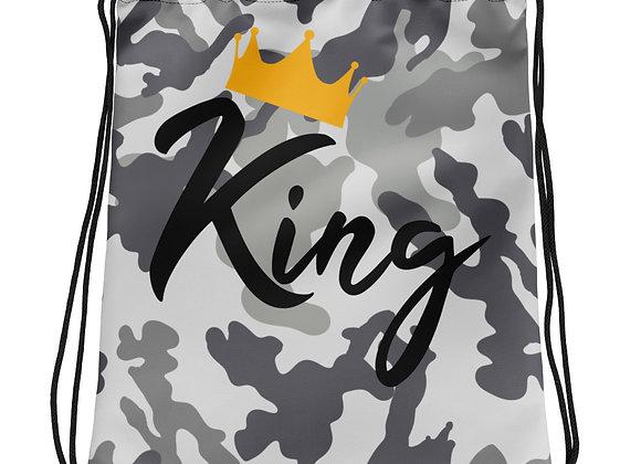 King Grey Camo Drawstring bag