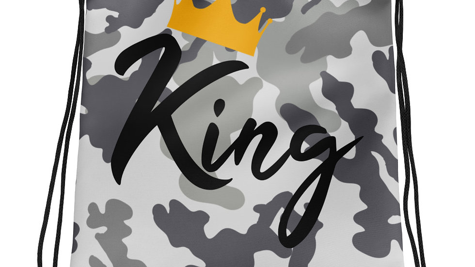King Grey Camo Drawstring bag