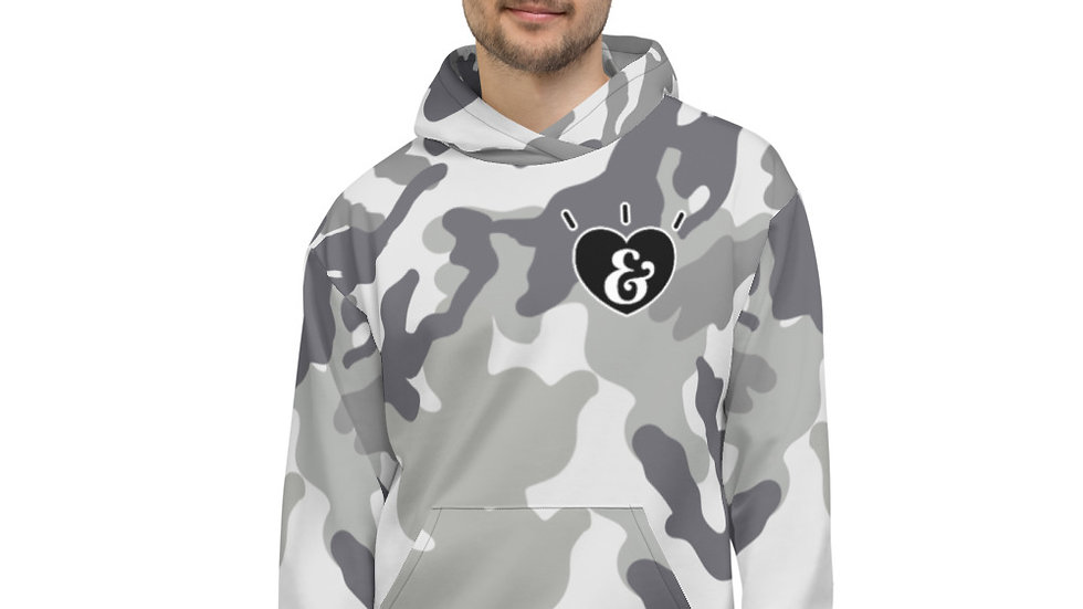 SHARELOVEANDLIGHT Grey Camo Unisex Hoodie