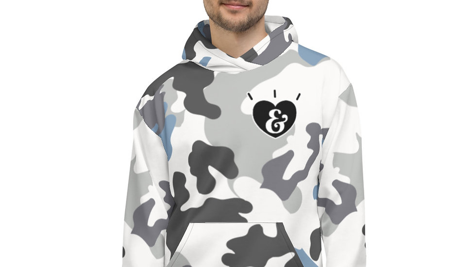 SHARELOVEANDLIGHT Blue Camo Unisex Hoodie