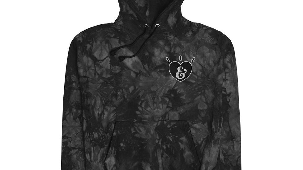Love & Light Heart Unisex Champion tie-dye hoodie