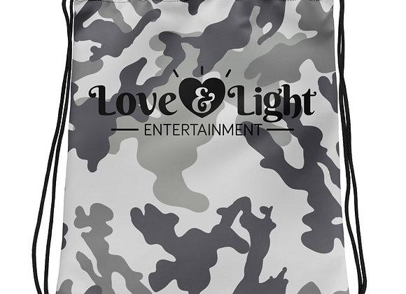 Love & Light Entertainment Logo Grey Camo Drawstring bag