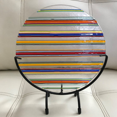Retro Sun Catcher, fused glass, $90.