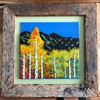 Mountain Aspens, fused glass, $225.