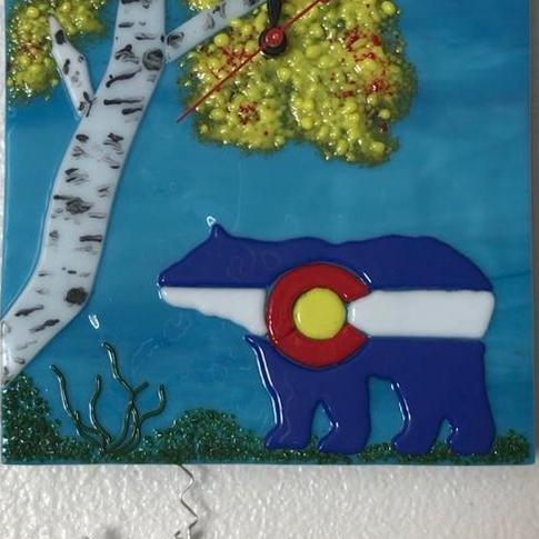 Colorado Bear Clock, fused glass, $225.  SOLD