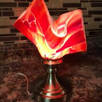 Red Lamp, fused glass, $225.