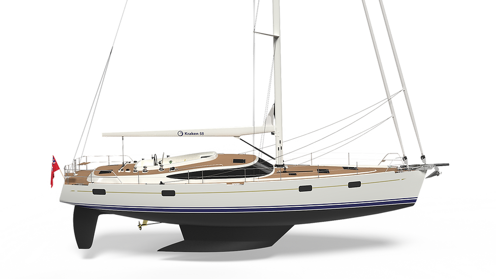 Kraken 58 Yacht with Markers on key features