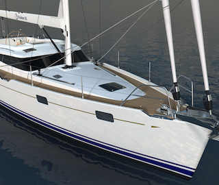 Kraken 50 ft Luxury Sailing Yacht from the Bow Render