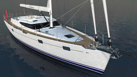 Kraken 50 ft Luxury Sailing Yacht from the Front Render
