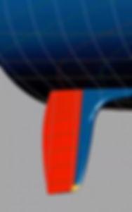 Skeg Hung Rudder Blue render with red back