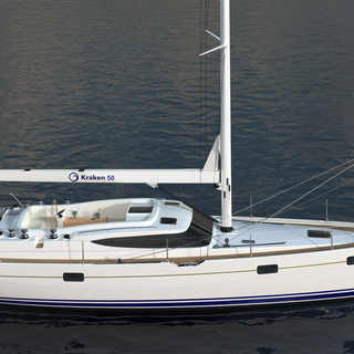 Kraken 50 ft Luxury Sailing Yacht render side view