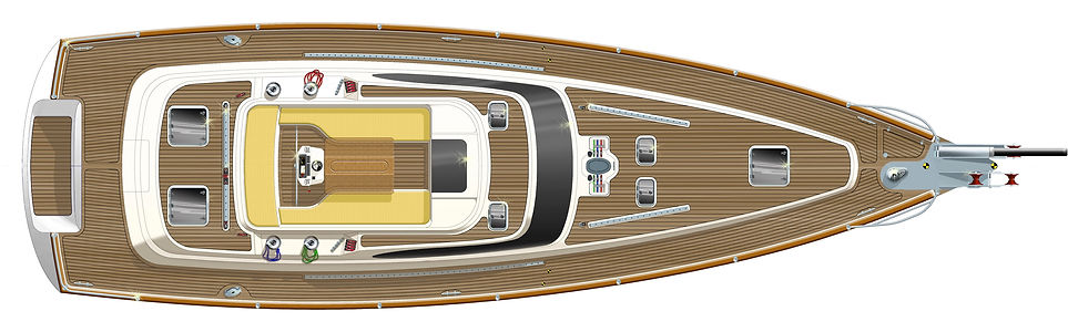 Kraken 50 ft Sailing Yacht Deck from top view