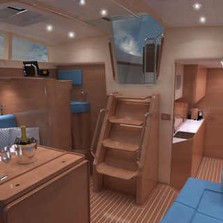 Interior of the Kraken 50 ft Saloon Luxury Sailing Yacht Render