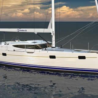 Kraken 50 ft Luxury Sailing Yacht Bow Render
