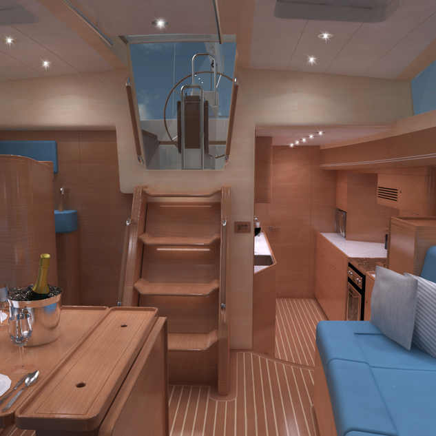 Interior of the Kraken 50 ft Saloon Luxury Sailing Yacht Render