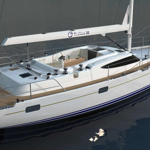 Kraken 50 ft Luxury Sailing Yacht Back Render