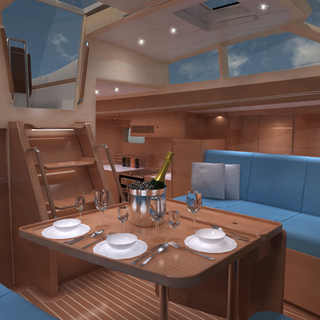 Interior of the Kraken 50 foot Saloon Luxury Sailing Yacht Render