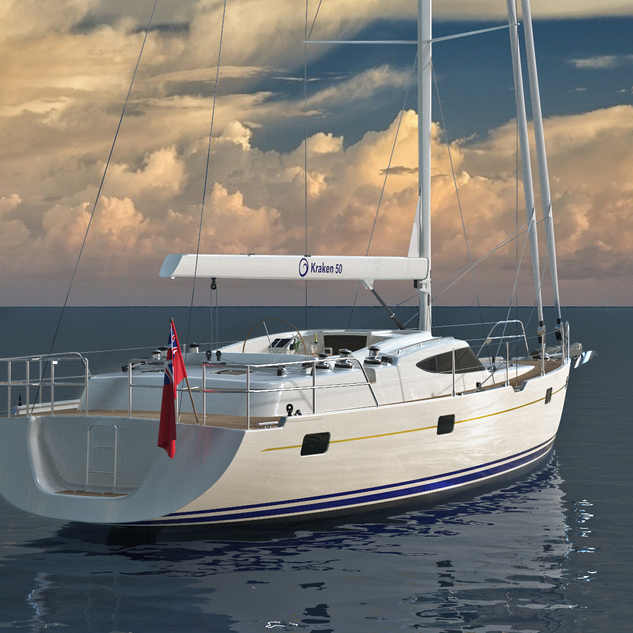 Kraken 50 ft Luxury Sailing Yacht from a Back Render