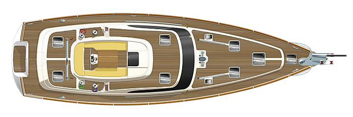 Kraken 58 ft Luxury Sailing Yacht Deck Plan